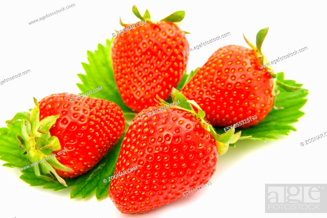 Stock Photo: Strawberries berry isolated on white background.