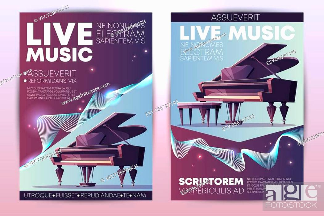 Stock Photo: Classical or jazz music festival, symphonic orchestra live concert, piano virtuoso performance modern design promo poster.