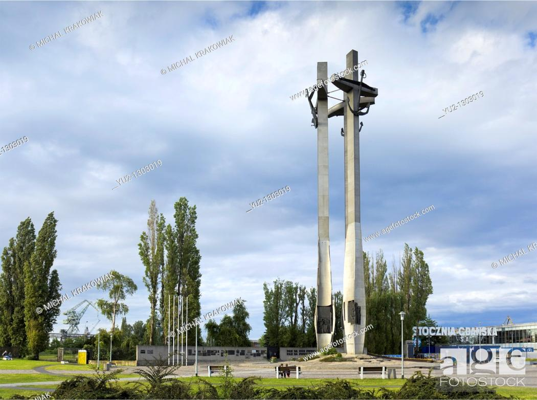Stock Photo: Monument to the Fallen Shipyard Workers of 1970 in Gdansk, Poland, near Shipyard in Gdansk.