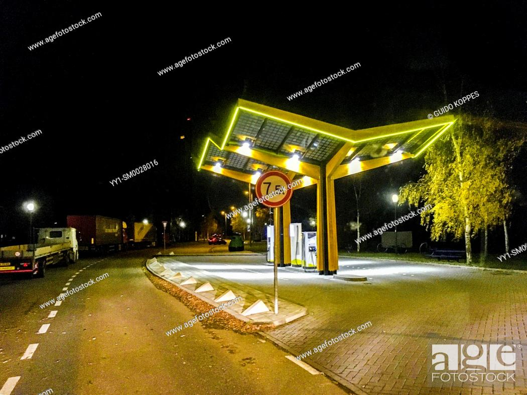 Stock Photo: Noord-Brabant, Netherlands. Electrical Charging Station alongside a Highway Parking Lot and Resting Place.