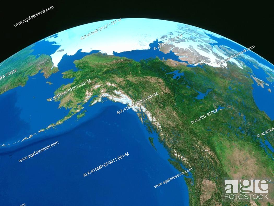 Map of Alaska & the Arctic with Curvature of the Earth/nDigital