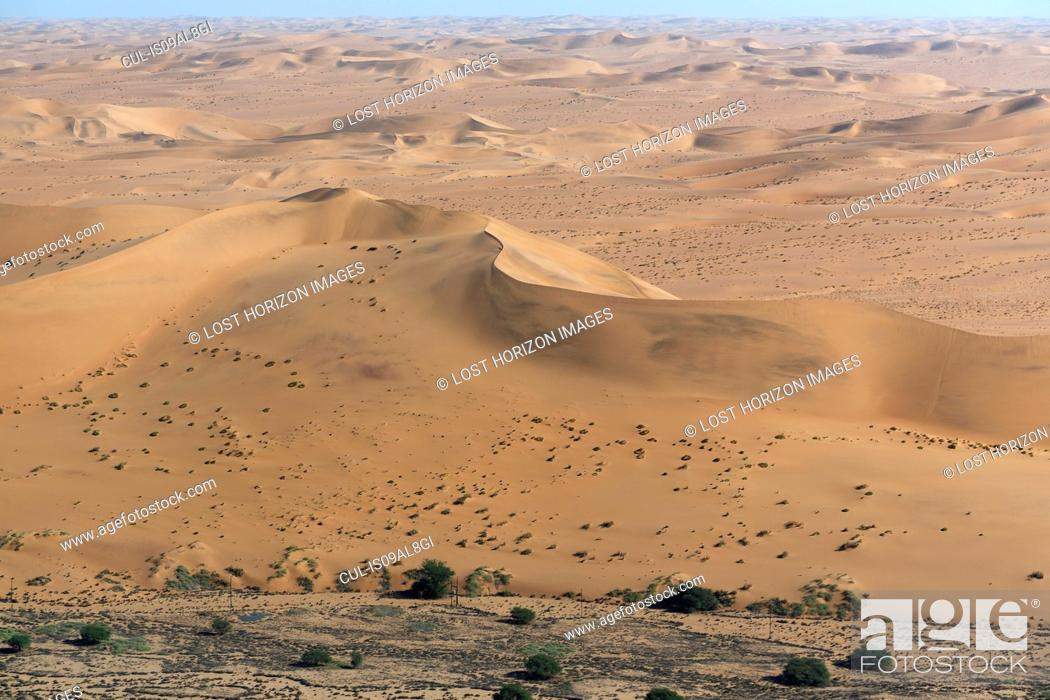 Stock Photo: Aerial view of desert sand dunes, Namib Desert, Namibia.