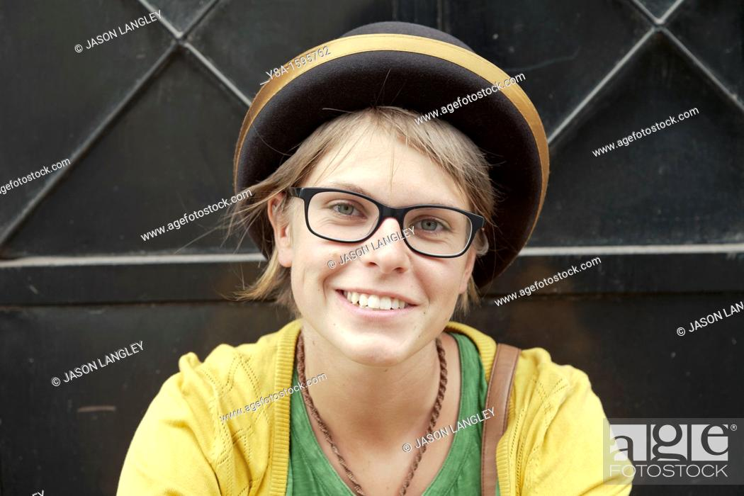 Stock Photo: A young woman wearing a traditional Bolivian or Peruvian bowler hat in Arequipa, Peru.