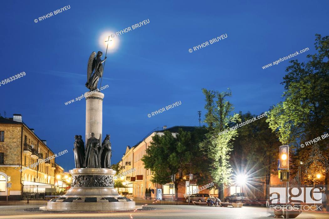 Stock Photo: Brest, Belarus. View Of Millennium Monument Of Brest At Intersection Of Sovietskaya And Gogol Street In Evening Night Illuminations.