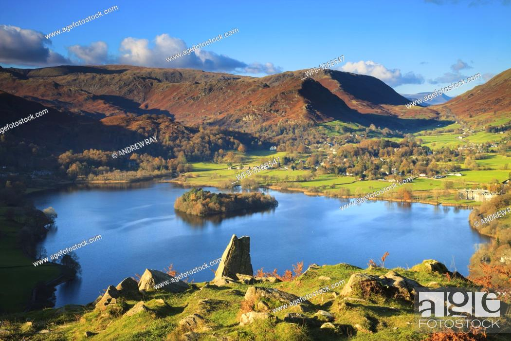 Stock Photo: Grassmere in the Lake District National Park, captured from the north side of Loughrigg Fell on an afternoon in early November.
