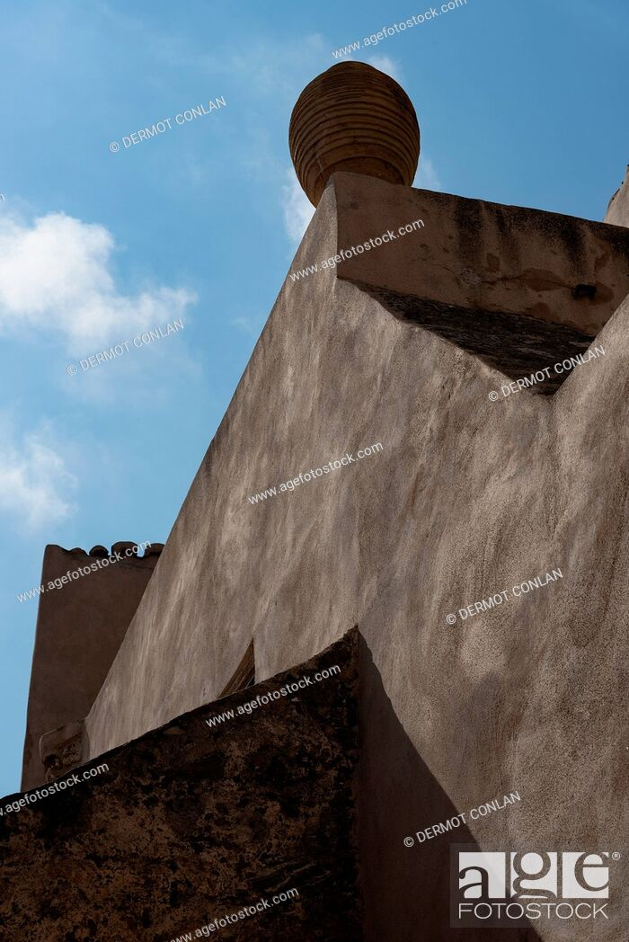 Stock Photo: Low angle view of finial on roof in Monemvasia, Greece.