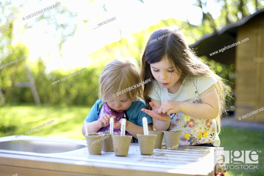 Stock Photo: Cute girls planting seeds in small pots on table at yard.