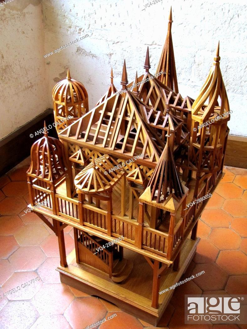 Stock Photo: Ancient model of the Renaissance Château d'Azay-le-Rideau, France. .