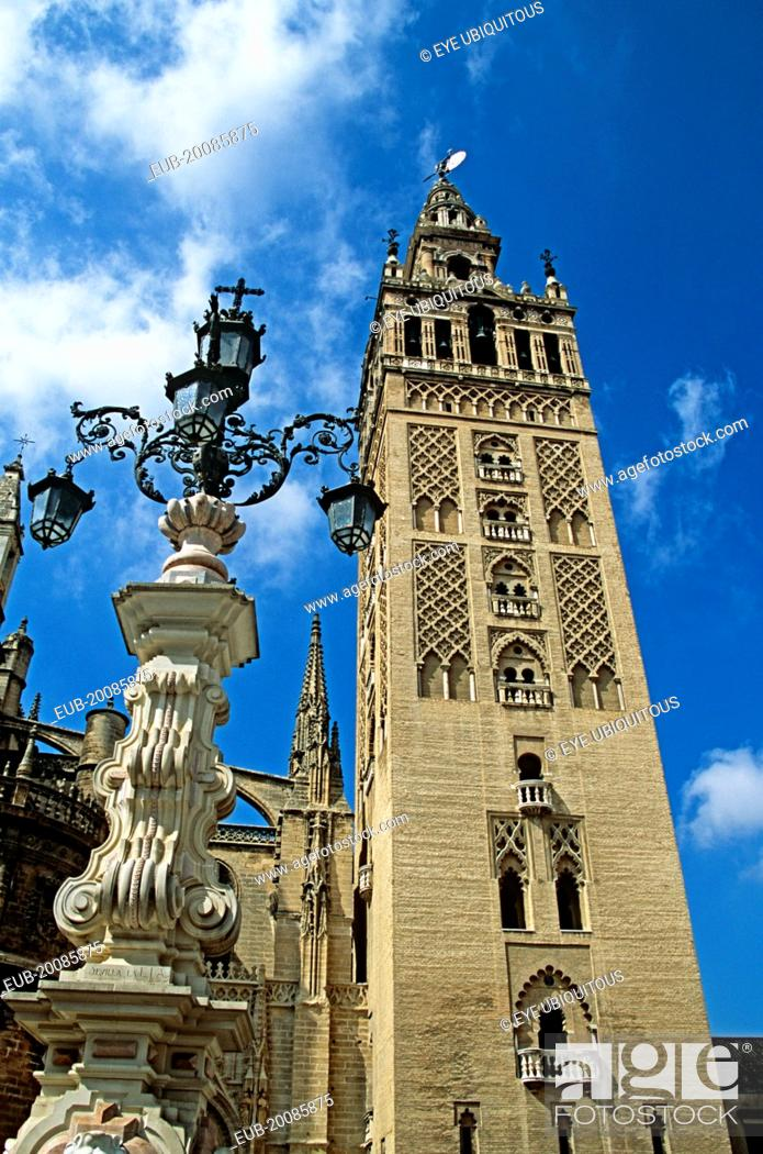 Stock Photo: Cathedral Bell tower, Plaza Virgen de los Reyes.