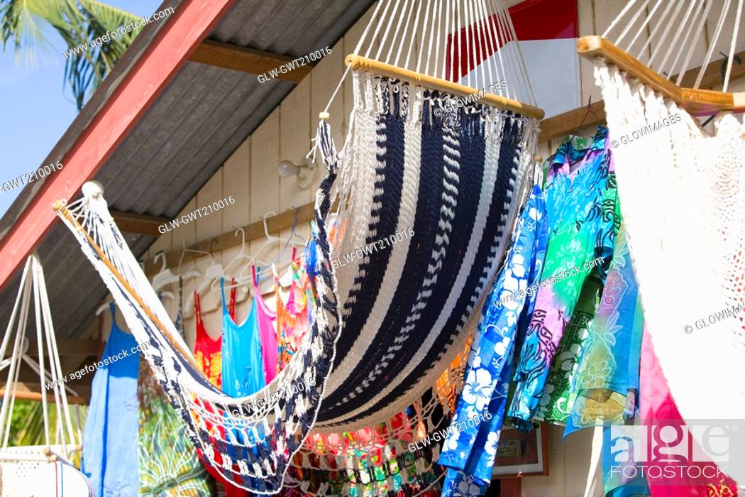 Stock Photo: Hammocks hanging at a market stall, Coxen Hole, Roatan, Bay Islands, Honduras.