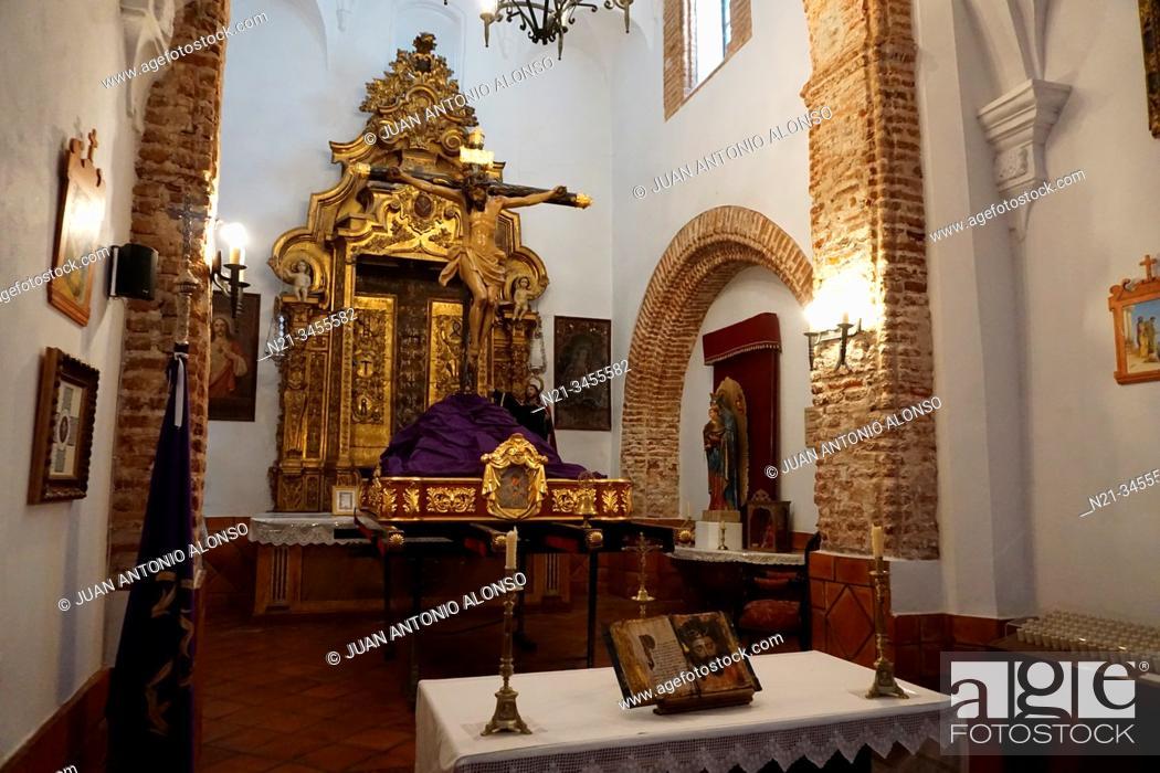 Stock Photo: Altar in the Ermita de la Caridad. Town of Fuenteobejuna (aka Fuenteovejuna, Fuente Ovejuna or Fuente Obejuna), Province of Cordoba, Andalucia, Spain, Europe.