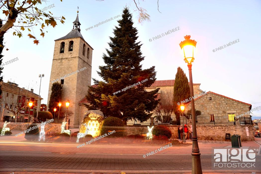 Stock Photo: Church of Our Lady of Asuncion, Galapagar, Madrid, Spain.