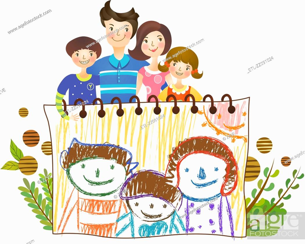Stock Photo: family standing in front of family portrait sketch on drawing paper with crayons.