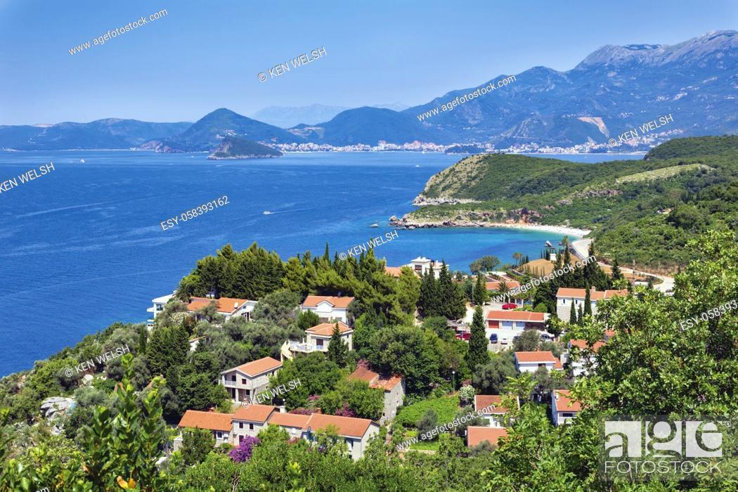 Stock Photo: Rijeka Rezevici, Montenegro. Apartments and houses near beach and with sea views. Property. Real estate.