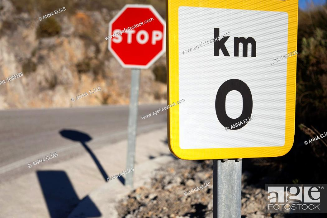 Stock Photo: close-up of two traffic signals stop zero km.