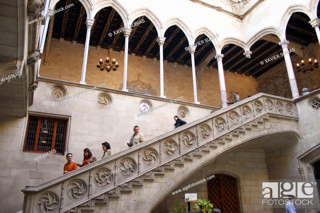 Stock Photo: Gothic courtyard and stairs. Palau de la Generalitat. Plaça de Sant Jaume. Barcelona. Spain.