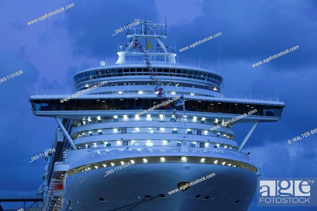 Stock Photo: Puerto Rico, San Juan, Port of San Juan, cruiseship at dawn.