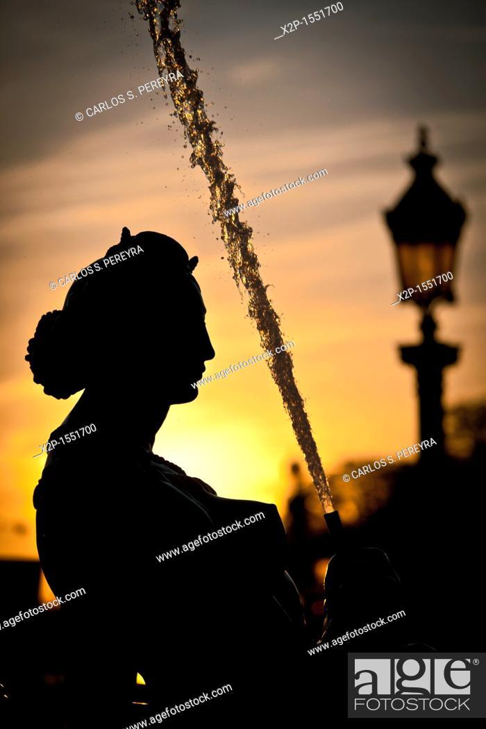 Stock Photo: Fountain of the seas in the Concorde Square, Paris, France.