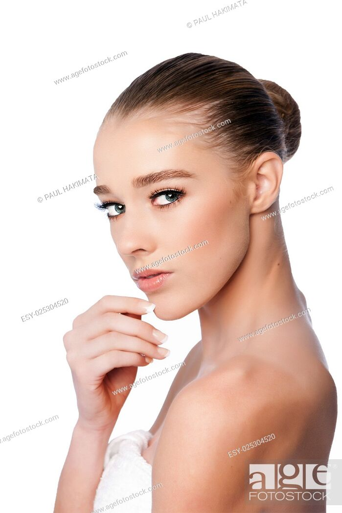 Stock Photo: Beautiful clean face of woman from side, aesthetics exfoliating skincare concept, on white.