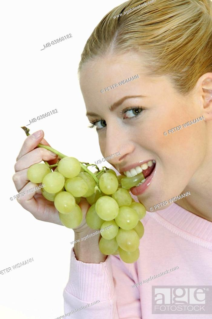 Woman Young Blond Grapes Smiles Eats Portrait Broached