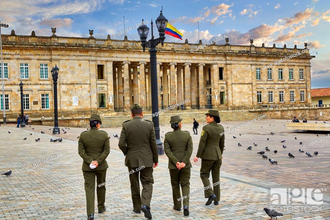 Stock Photo: Capitolio Nacional, Plaza de Bolivar, Bogota, Cundinamarca, Colombia.