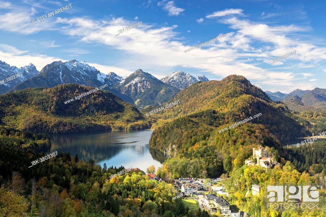Stock Photo: Alpsee lake with Schloss Hohenschwangau Castle in autumn, Füssen, East Allgäu, Bavaria, Germany.