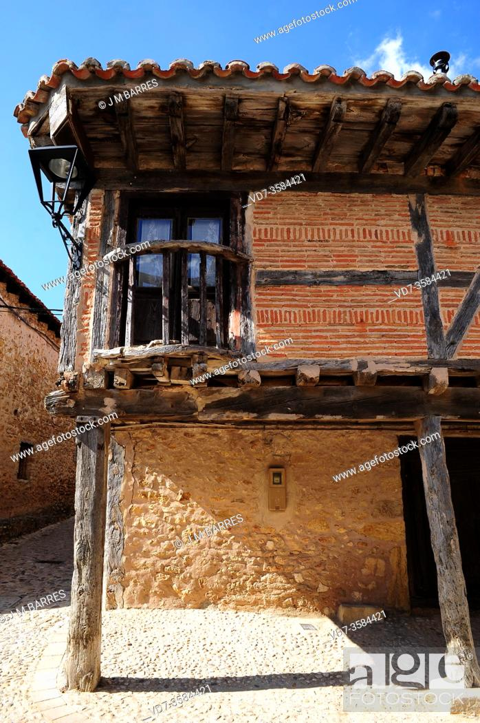 Stock Photo: Calatañazor, traditional brick, stone and wood house . Soria province, Castilla y Leon, Spain.