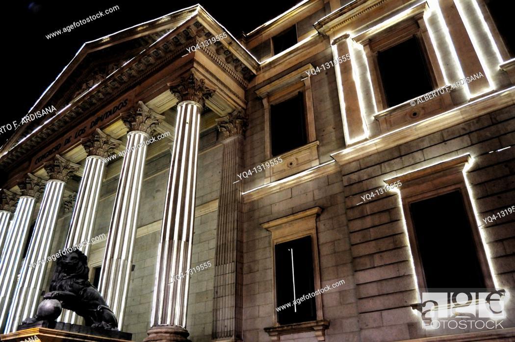 Stock Photo: Congreso de los Diputados (Spanish Parliament with Christmas lights. Madrid, Spain.