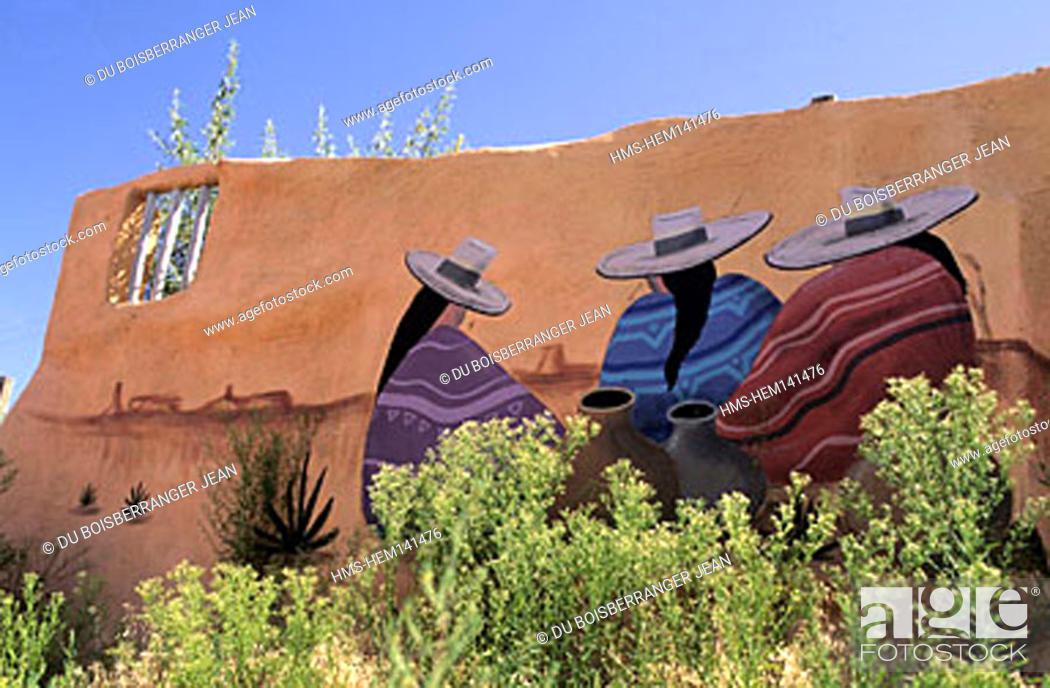 Stock Photo: United States, New Mexico, Taos city, Mural.