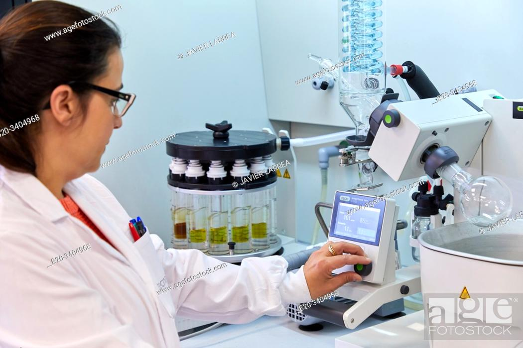 Stock Photo: Researcher, Multi-evaporator, Solvent Separation, Gas Showcase, Biotechnology Laboratory, Food industry, Unit of Health, Technology Centre.