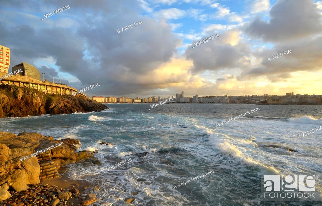 Stock Photo: Spain. Galicia. A Coruña. Riazor's beach.