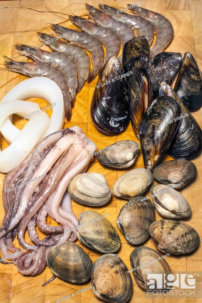 Stock Photo: Mixed seafood paella ingredients, Salobreña, Granada, Spain.