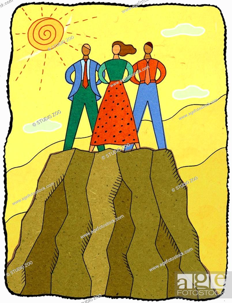 Stock Photo: three people on a mountaintop.