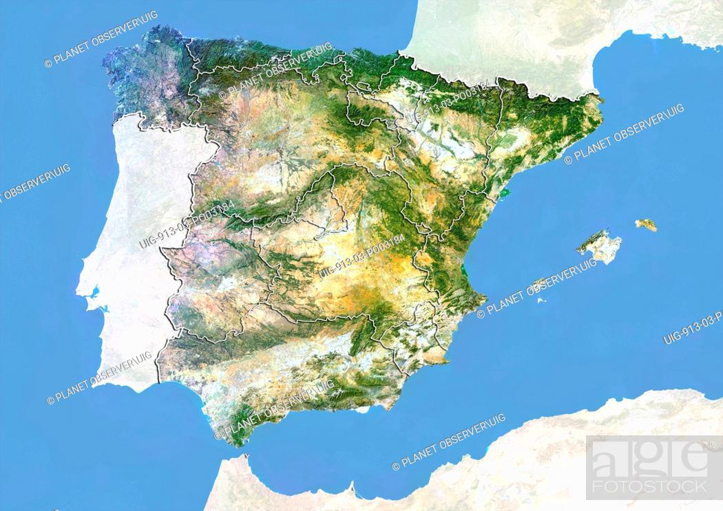Satellite Map Of Spain.Satellite View Of Spain With Bump Effect And Region Boundaries