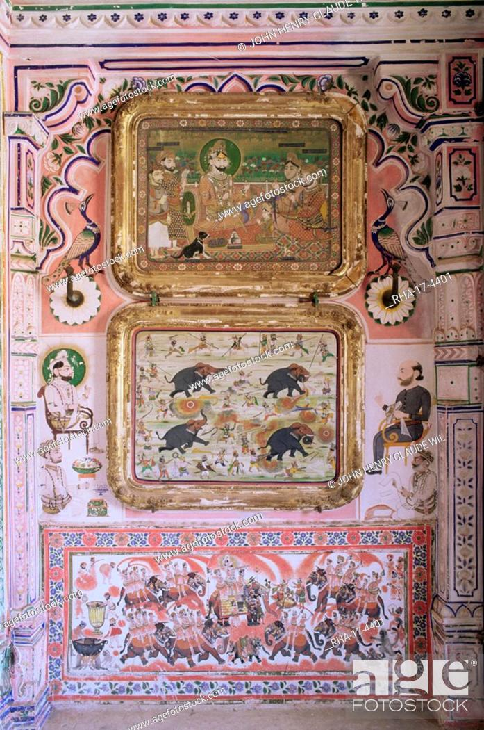 Stock Photo: Juna Mahal old palace, one of the finest examples of a painted palace, Dungarpur, Rajasthan state, India, Asia.