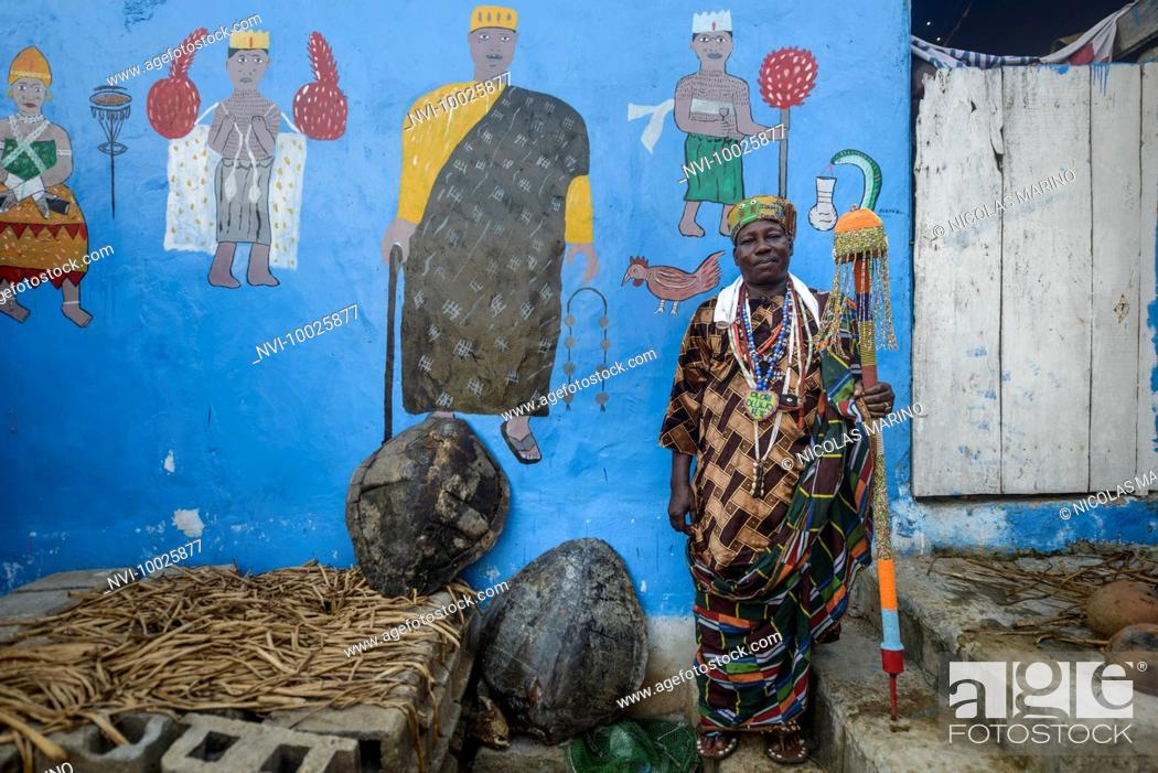 The king of Ganvié, a voodoo priest and his fetishes, Benin