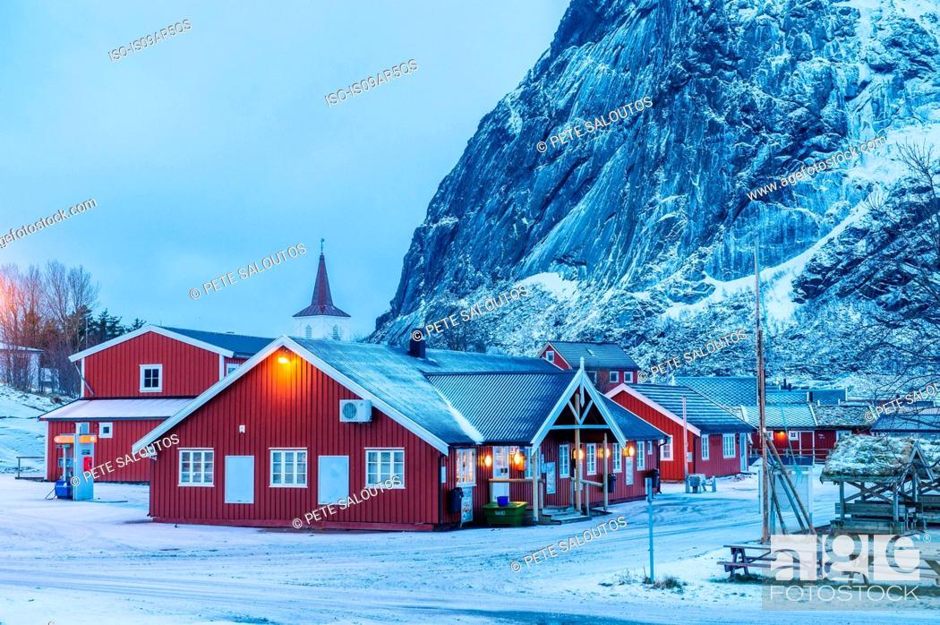 Stock Photo: Buildings at dusk, Reine, Lofoten, Norway.