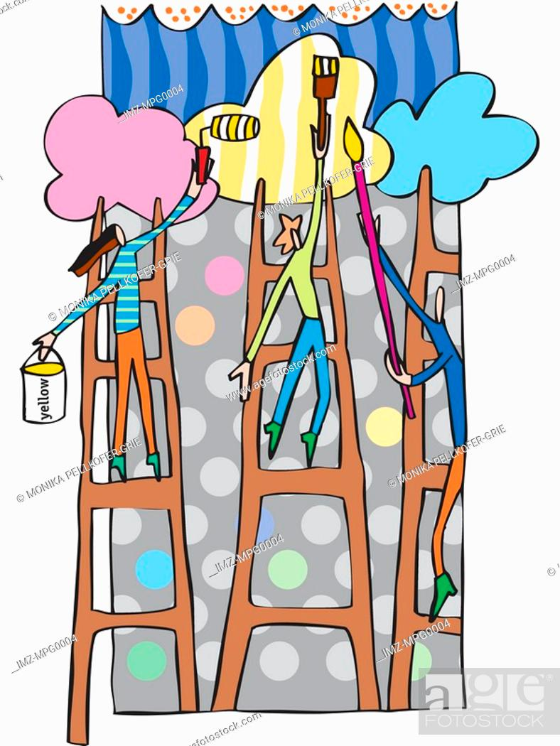 Stock Photo: People standing on ladders decorating the clouds with paints.
