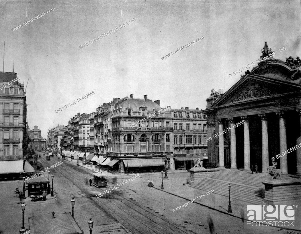 Stock Photo: One of the first autotype photographs of le boulevard anspach in brussels, belgium, circa 1880.