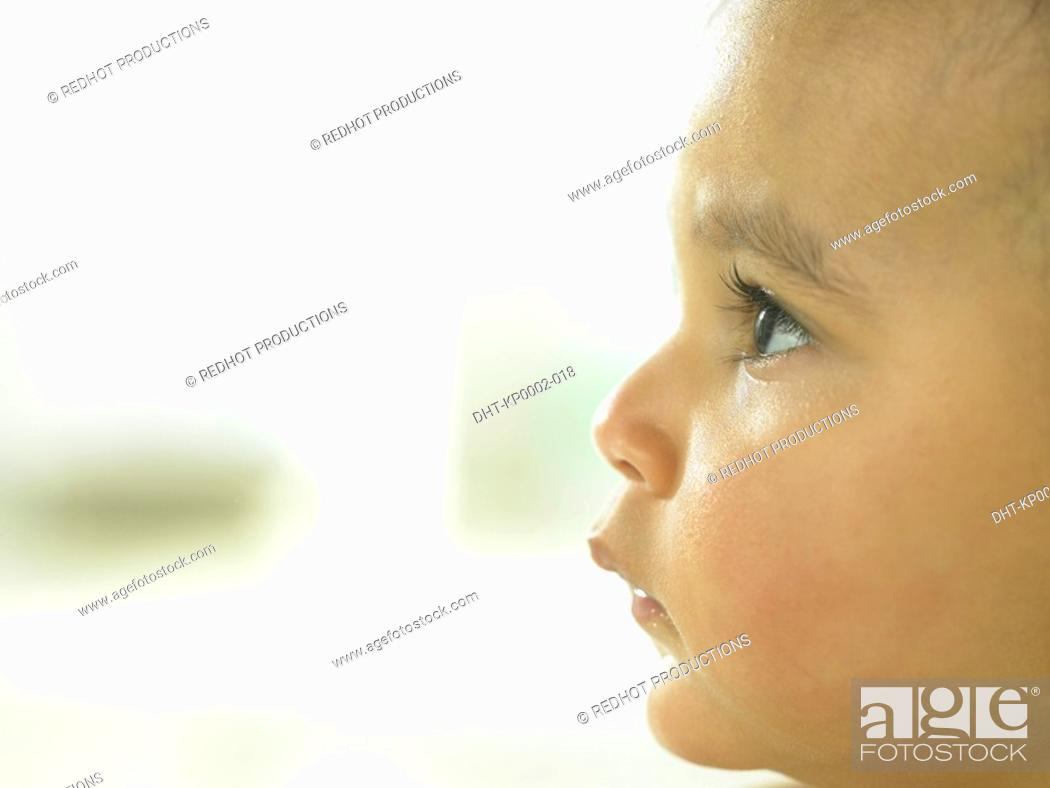 Stock Photo: Baby's face profile close up.