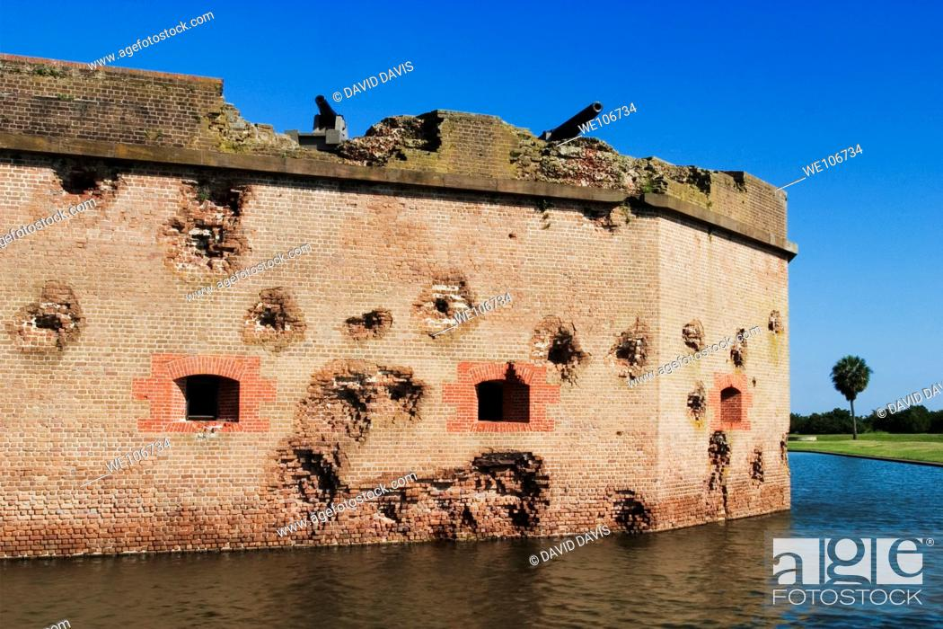Stock Photo: Fort Pulaski National Monument built 1829 to 1847 wall craters made by Union artillery, moat surrounds fort.