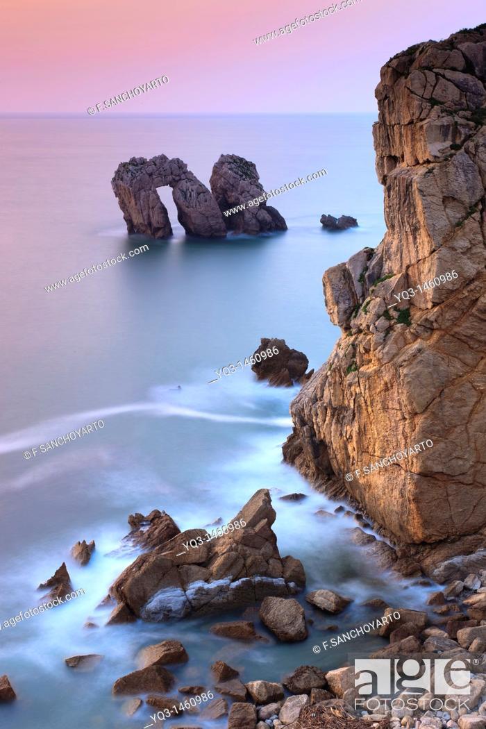 Stock Photo: Urros de Liencres rocky isles, Costa Quebrada, Piélagos, Cantabria, Spain.