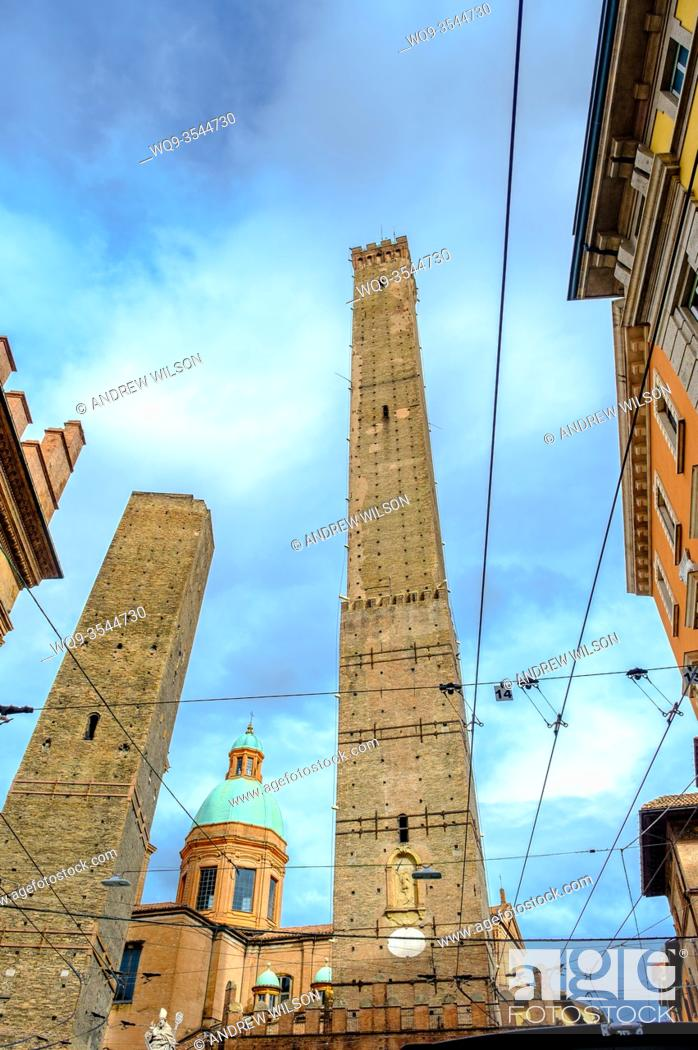 Stock Photo: The Two Towers of Bologna (Le Due Torri), Italy - symbols of the city.