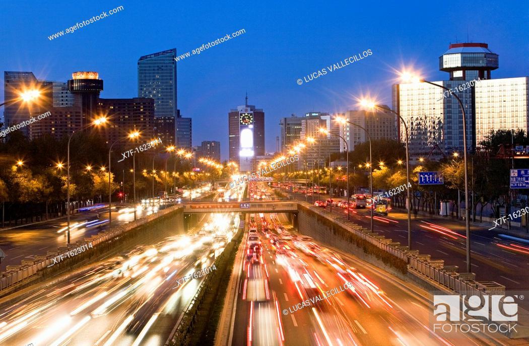 Stock Photo: Dongsanhuan Beilu,Beijing, China.