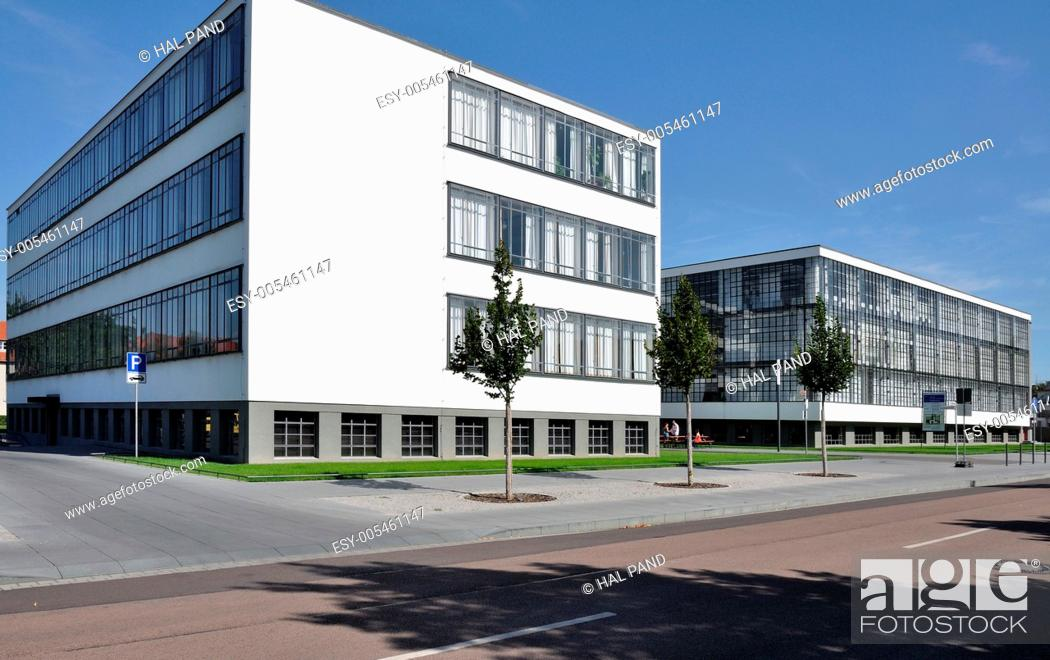 Stock Photo: bauhaus from north, dessau, view in direction north, as seen from the street, of the building symbol of modern architecture in the twenties.