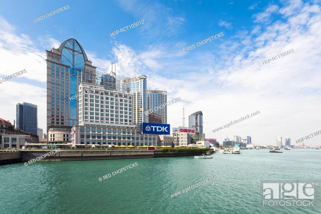 Stock Photo: Buildings at the waterfront, Lujiazui, The Bund, Shanghai, China.