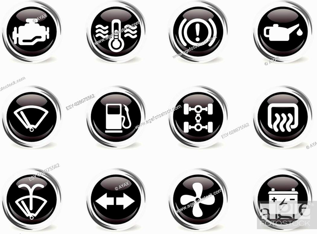 Stock Vector: Car interface icons set for web sites and user interface.
