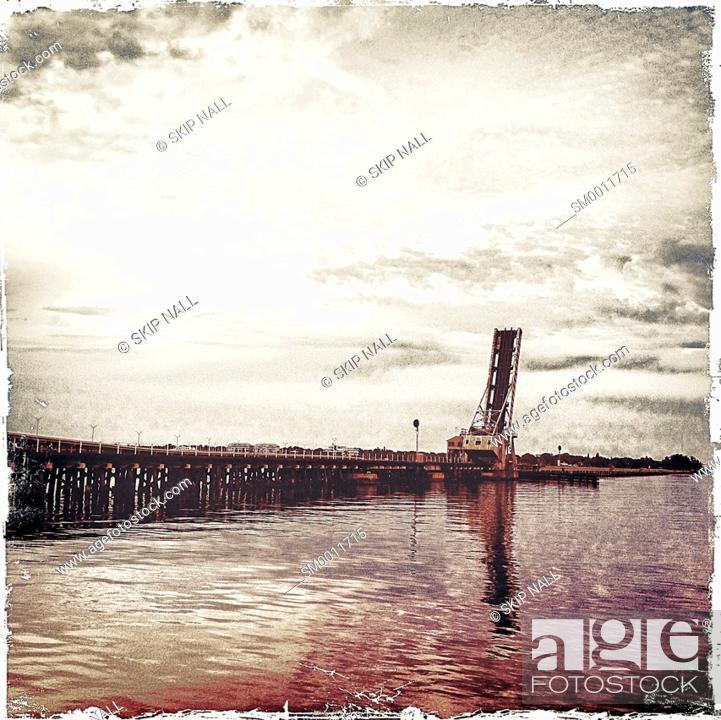 Stock Photo: A railroad draw bridge over the Manatee River in Brandenton, Florida.