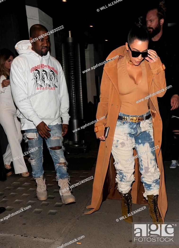 c191250f Stock Photo - Kim Kardashian and her husband Kanye West leaving Hakkasan  restaurant, and heading back to their hotel Featuring: Kim Kardashian, Kanye  West ...