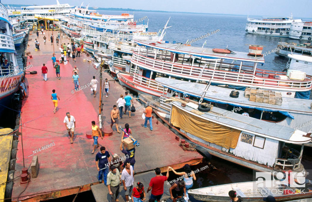 Stock Photo: Port of Manaus. Amazonas state, Brazil (2005).